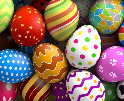 Decorated easter eggs background (3D rendered illustration)